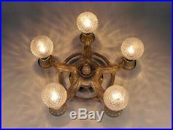 Antique Art Deco 5 Light Gold Flush Mount Chandelier Ceiling Fixture RESTORED