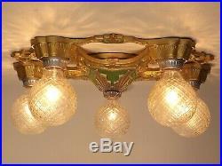 Antique Art Deco Nouveau 5 Light Polychrome Flush Ceiling Fixture Chandelier #1