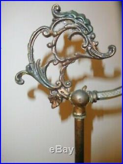 Antique Art Deco Nouveau Iron Bridge Floor Lamp Serpents Marble Base Vintage