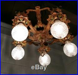 Antique Art Nouveau 1920s Ceiling light Polycrome Chandelier Original