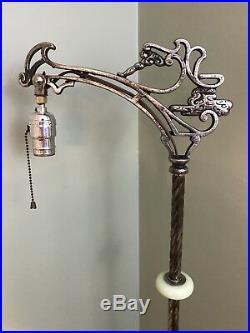 Antique Art Nouveau Deco Bridge Floor Lamp Vaseline Glass Jadeite Ornate Vtg