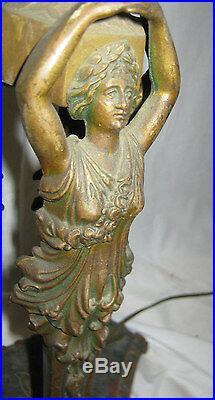 Antique Art Nouveau Nude Lady Statue Bridge Floor Sconce Shade Light Iron Lamp