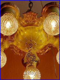 Antique Art Nouveau Ornate 1920's Ceiling 5 light Chandelier Original
