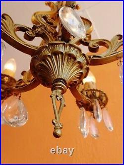 Antique Art Nouveau Ornate gilded cast iron 5 arms chandelier Teardrop Prisms