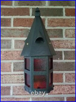 Antique Arts & Crafts Cast Iron & sheet metal Porch Light Sconce