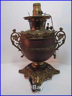Antique B&H Bradley Hubbard Oil Lamp electric conversion ornate brass cast iron
