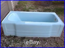 Antique Bathroom Toilet Bathtub Sink Set Blue 1950's Universal Rundle Cast Iron
