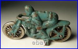 Antique Blue Hubley #5 Speed Motorcycle Cast Iron Toy Racer Racing Nickel Wheels