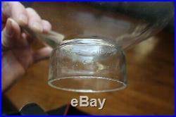 Antique Cast Iron 3 Arms Oil Lamp Chandelier Bradley & Hubbard Era Glass Shade