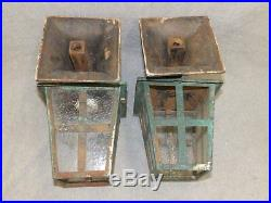 Antique Cast Iron Arts Crafts Porch Sconce Pair Old Wall Light Fixtures 2342-16