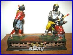 Antique Cast Iron Baseball Mechanical Bank DARKTOWN BATTERY / J. E. STEVENS 1888