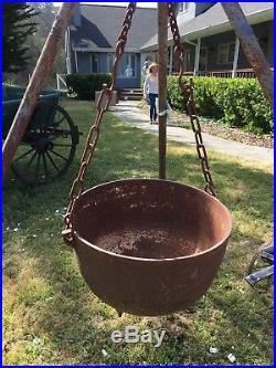 Antique Cast Iron Cauldron Kettle Pot Lg Garden Halloween Wicca Cowboy Camping