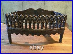 Antique Cast Iron Fireplace Wood Grate Coal Box Log Holder Insert Fleur-de-lis