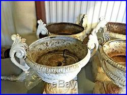 Antique Cast Iron Foundary Stampted Turn Of The Century Garden Urns. Set Of Two