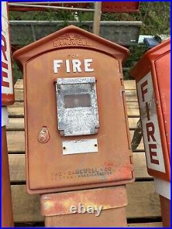 Antique Cast Iron Gamewell Fire Alarm Box Cast Iron Pedestal Total Not Restored