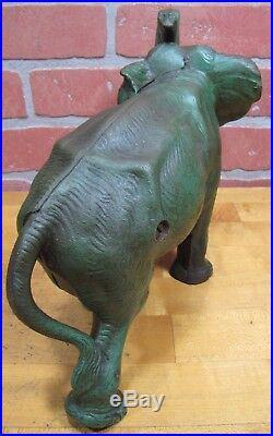 Antique Cast Iron Hubley Elephant Decorative Art Doorstop Orig Old Pnt Exquisite