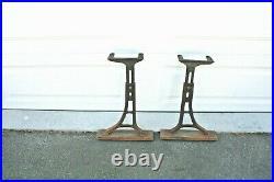 Antique Cast Iron Industrial School Adjustable Table Desk Legs