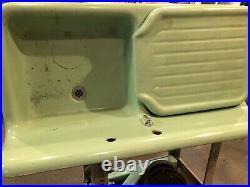 Antique Cast Iron Jadeite Green Porcelain Kitchen Farm Sink Vtg Legs