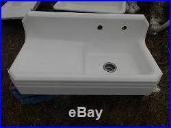 Antique Cast Iron Porcelain 42 Art Deco Farm Sink Left Drainboard Vtg 5221-15