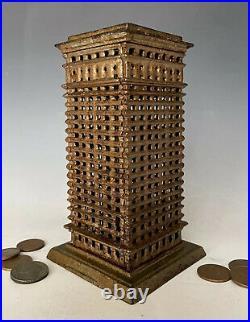 Antique Cast Iron Still Penny Bank Kenton High Rise Skyscraper Building, c. 1920