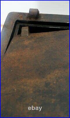 Antique Cast Iron Strong Box Safe Rare 1800s Stagecoach Wagon Wells Fargo