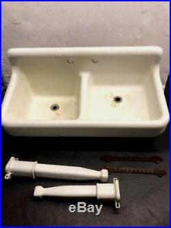 Antique Cast Iron White Porcelain 50 Sink Double Basin Deep Shallow