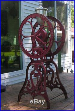 Antique Coffee Grinder Mill Large Elgin National Floor Model Cast Iron Old Good