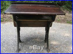 Antique Country Primitive Wood Cast Iron Child School House Desk Stand Art Bell