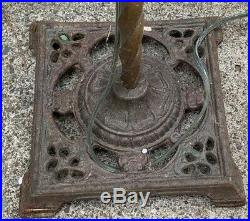 Antique Early 1900s Bridge Floor Lamp Cast Wrought Iron Victorian Art Deco