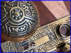 Antique Eastlake Passage Door Knob Set Including Plates & Mortise- Ceylon