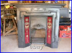 Antique English Original Victorian Cast Iron Tiled Fireplace. # Free Shipping #