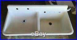 Antique Farm Sink Double Basin 46 Cast Iron White Porcelain Old Vtg 2247-13