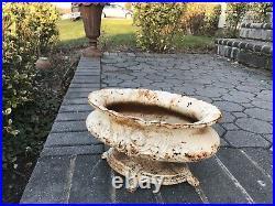 Antique Footed French Cast Iron Garden Planter Urn Jardiniere