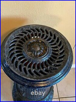 Antique French cast-iron stove, cast-iron enameled tall round stove, circa 1910