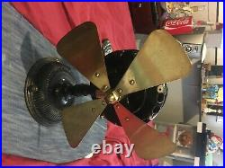 Antique GE 1901 pancake fan works great cast iron and brass minor chips As Is