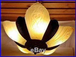 Antique Glass Slip Shade Ceiling Light Fixture Cast Iron Deco Chandelier Lamp
