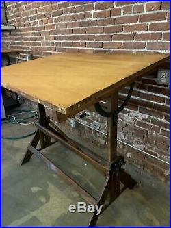 Antique Hamilton Cranking Drafting Table Industrial Desk Wood And Cast Iron