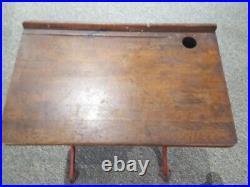 Antique Heywood Wakefield Eclipse Oak & Cast Iron School Desk &chair Pickup Only