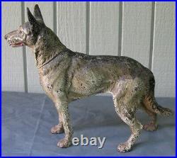 Antique Hubley Cast Iron German Shepard Dog Doorstop Figure Statue