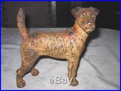 Antique Hubley Fox Terrier Home Statue Tool Doorstop Cast Iron Dog Art Door Stop