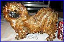 Antique Hubley Toy Co. USA Cast Iron Pekingese Dog Art Statue Sculpture Doorstop