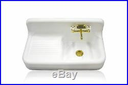 Antique Inspired High Back Single Drainboard Apron Cast Iron Kitchen Farm Sink