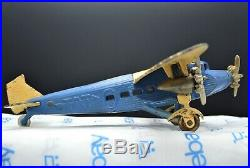 Antique Large Cast Iron Kilgore 3 Engine Ford TAT 1929 Airplane 13.5x11x3