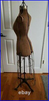 Antique Mannequin Vintage Dress Form Victorian Adjustable Cast Iron Base 1908