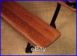 Antique Metamorphic Cast Iron & Pitch Pine Chapel Bench & Table