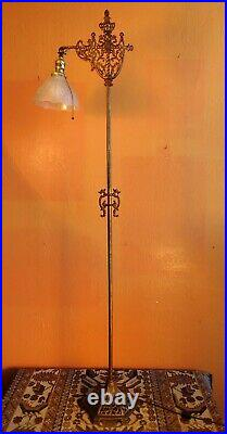 Antique Old Gold Cast Iron Floor Lamp with Antique Glass Shade