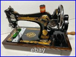 Antique Original Singer 128k Cast Iron Hand Crank Sewing Machine & Carry Case