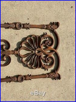 Antique Ornate Cast Iron Victorian Architectural Salvage Window Grate insert