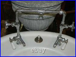 Antique Oval Cast Iron Barber Sink with Fluted Pedestal in Excellent Condition
