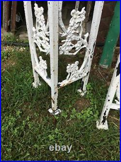 Antique Pair Cast Iron Porch Post Dog Wood Tree Oriental Architectural Salvage